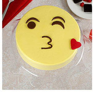 Cute Kiss Emoji Cream Chocolate Cake 1kg