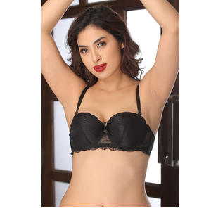 Padded Underwired Level 1 Push Up Balconette Bra in Black - Lace