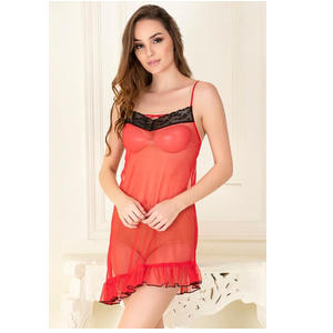 Sheer Babydoll with Matching Thong In Red