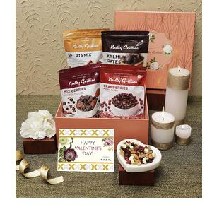 Nutty Gritties Valentine Day Special Gift Box for Her|Him|Couple - Sports Mix, Mix Berries, Cranberries and Kalmi Dates - 1.1KGS