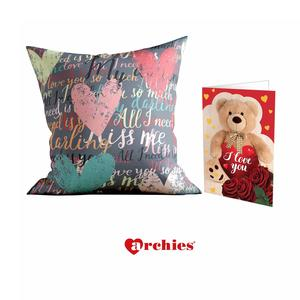 Archies Love Valentines Printed Cushion 12X12 with Filler & Beautiful Greeting Card, Now Impress Your Love Gifts (I Love You So Much My Darling)