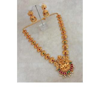 Jewelmaze Lakshmi Idol Necklace & Jhumkas Set