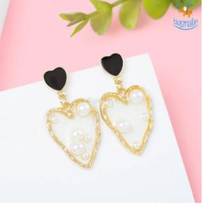 Heart Gold & Pearl Earrings