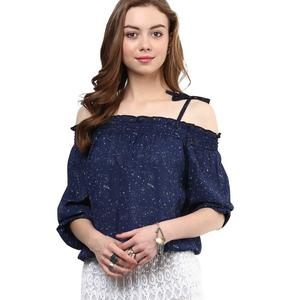Rare  Casual Cold Shoulder Solid Women Blue Top