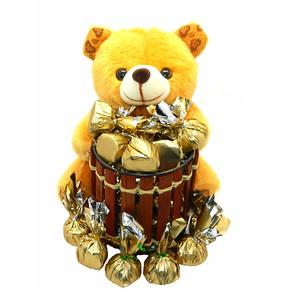 Rich'U Chocolates - Chocolate Gift Pack Combo - Soft Teddy Bear Pen-Stand (1 Pc) with Chocolates (12 Pcs) Best for Birthday Anniversary Girlfriend Boyfriend Wife Husband Love