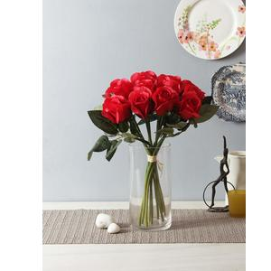 Fourwalls Decoration Artificial Rose Flower Bunches (40 cm Tall, 12 Heads Flowers, Red)