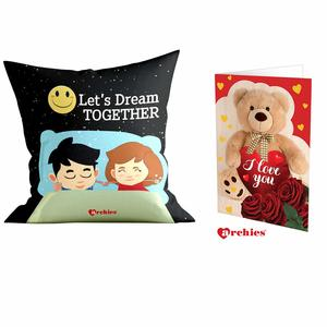 Archies Love Valentines Printed Cushion 12X12 with Filler & Beautiful Greeting Card, Now Impress Your Love Gifts (Let's Dream Together)