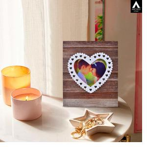 Archies Photo Frame with LED Light for Wall, Home Decor Item, Wooden Material, Natural Wooden Color, Size Cms, 1 Pc Set