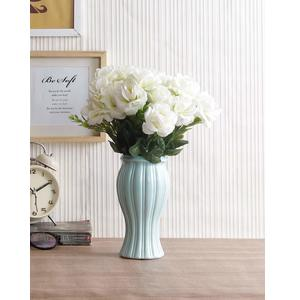 Fourwalls Polyester Fabric and Plastic Artificial Rose Flower Bunch for Home Decor (10 cm x 10 cm x 30 cm, White, Set of 5)