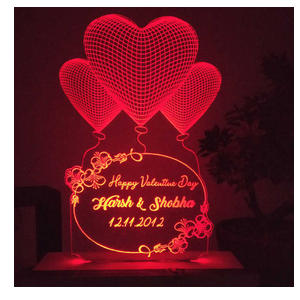 Personalised Hearts Red LED Night Lamp