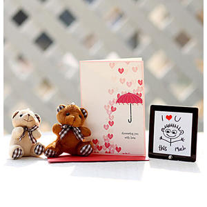 Valentines Card & Cuddly Teddy Bears Combo