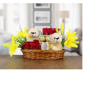 Golden Cart Fresh Flowers Bouquet Basket I Fresh Roses I Valentine Gift for Girlfriend I Valentine Gift for Boyfriend I Gift for Girls I Wedding Gift for Couples I Bouquet Basket of Lilies Roses ferrero Rocher Chocolates & Teddy Bear