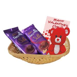 Maalpani Cadbury Silk Chocolates With Teddy Bear Basket - Chocolate Basket Valentine's Day