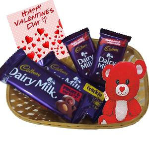 Maalpani Chocolate Gift Hamper Valentine Day Chocolate Basket With Teddy Bear And Greetings