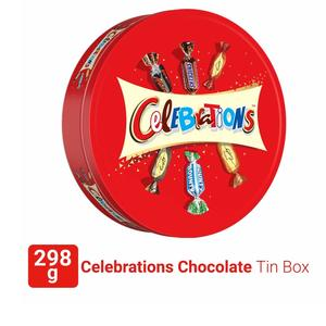 Celebrations Valentines Day Assorted Chocolate Gift Pack Tin Box (Snickers, Mars, Bounty, Galaxy Jewels)- 298.2g