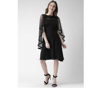 KASSUALLY  Women Fit and Flare Black Dress