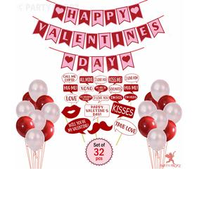 Party Propz Happy Valentine's Day Banner with Valentines Day Photo Booth Props and Latex Balloons Combo for Valentines Day Decoration Wall / Window and Door (Set of 32)