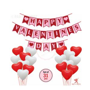 Party Propz 31Pcs Combo Happy Valentine's Day Banner with Heart Shape Latex Balloons Combo for Valentines Day Decoration Wall / Window and Door Decoration