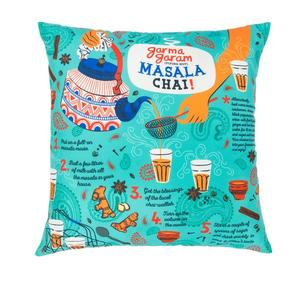 "Masala Chai 16"" Cushion Cover - Teal"