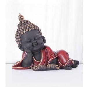 Naqsh Reading Monk Polyresin Figurines in Red-Gold Colour by Living Essence
