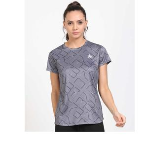 Cultsport  Printed Women Round Neck Grey T-Shirt