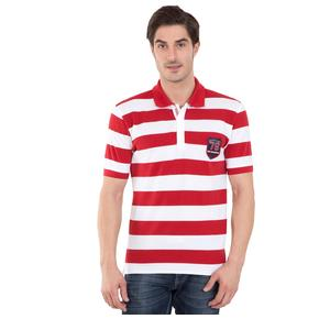 JOCKEY WORLDLY RED & WHITE HALF SLEEVE POLO T-SHIRT