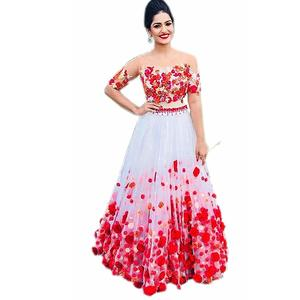 Fast Fashions Women's Heavy Net Embroidered Semi Stitched Lehenga Choli (White Colour)