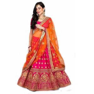 Fast Fashions Women's Pink Heavy Embroidered Taffeta Silk Lehenga Choli (Pink_Free Size)