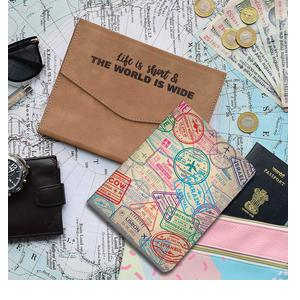 Doodle Globetrotter PU Leather 240 Pages Planner with Card and Pen Holder, Size with Jacket (7.5 X 5.5 inches)
