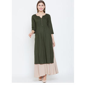 Prakhya Women Green Solid Straight Kurta