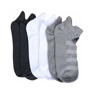 Adidas Men's Cotton, Nylon and Elastane Flat Knit Low Cut Socks (White/Grey Melange/Anthra, Free Size) - Pack of 3
