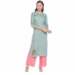 Lee Moda  Women Printed Rayon Anarkali Kurta  (White, Blue)