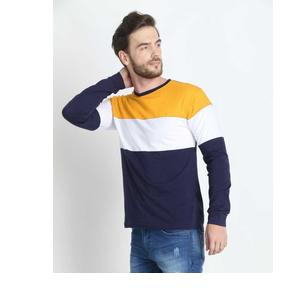 Wearza  Color Block Men Round Neck Yellow, White, Dark Blue T-Shirt