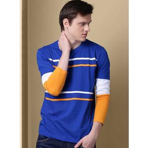 GHPC  Striped Men Round Neck Blue T-Shirt