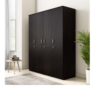Amazon Brand - Solimo Alpha Engineered Wood 4-Door Wardrobe (Espresso Finish)