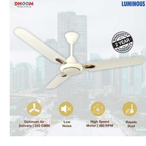 Luminous Dhoom 1200mm 70-Watt High Speed Ceiling Fan (Ivory)