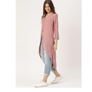 DressBerry Women Pink Solid Longline Top