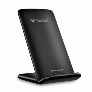 RAEGR Arc 700 Qi-Certified Wireless Charging Stand 15W-Galaxy Note 10,LG V30+/V30/, 10W-Galaxy S10+/S10/S9/Note9,7.5W-iPhone 11 Pro Max/11 Pro/11/XS Max/XR/XS & 5W for All Qi-Enabled Phones - Black