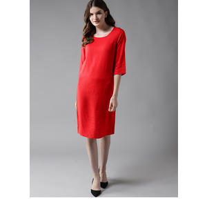 HERE&NOW Women Red Solid Sheath Dress