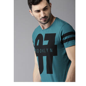 HERE&NOW Men Teal Blue Printed Round Neck T-shirt