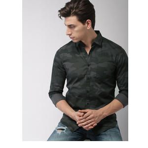 HIGHLANDER Men Black & Charcoal Grey Slim Fit Printed Casual Shirt