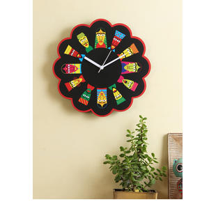 RANGRAGE Black Handcrafted Quirky Printed Analogue Wall Clock