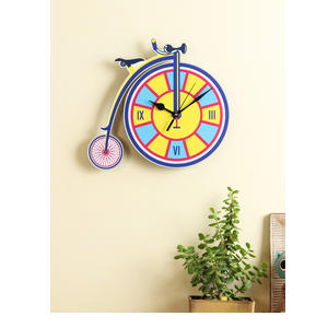 RANGRAGE Yellow Handcrafted Quirky Printed Analogue Wall Clock