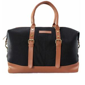 DEIN KLEIDER Canvas Vintage Unisex Travel Duffle Bag (Black and Brown)
