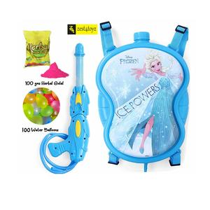 Zest 4 Toyz Holi Water Gun with High Pressure Holi Pichkari with Back Holding Tank, Holi 3.6 litres Get 100 Water Balloons Free -Frozen Super Tank Blue