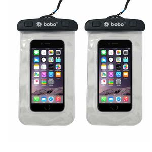 BOBO Universal Waterproof Pouch Cellphone Dry Bag Case for iPhone Xs Max XR XS X 8 7 6S 6 Plus, Samsung Galaxy S9 S8 + Note 8 6 5 4, Pixel 3 2 XL, Mi, Moto up to 6.5 inch – Transparent (Pack of 2)