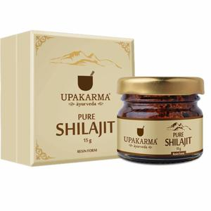 Upakarma Natural Pure Resin Raw Shilajit/Shilajeet For Strength, Stamina, Power, And Energy Booster - 15 Grams