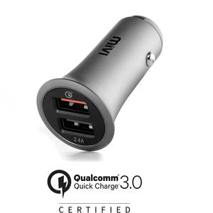 Mivi CC2QC3 Dual Port Car Charger - (Black)