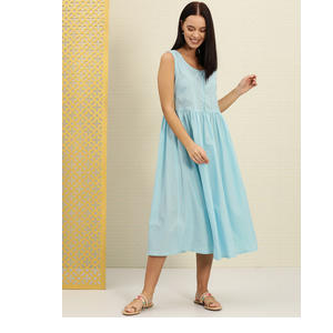 House of Pataudi Women Blue Solid A-Line Dress