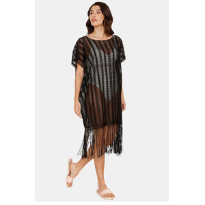 Zivame Lace N Mesh Swim Cover-Up - Black